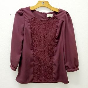 Lucy & Laurel Anthropologie Burgundy Blouse